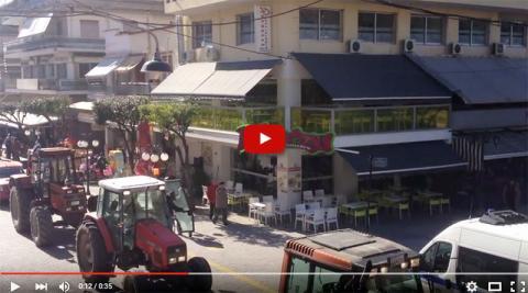 Βίντεο από την είσοδο των τρακτέρ στον πεζόδρομο Γιαννιτσών